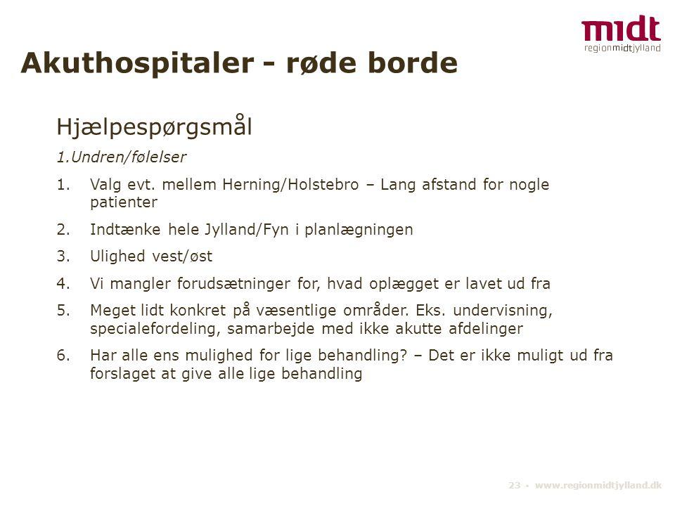 23 ▪ www.regionmidtjylland.dk Akuthospitaler - røde borde Hjælpespørgsmål 1.Undren/følelser 1.Valg evt.