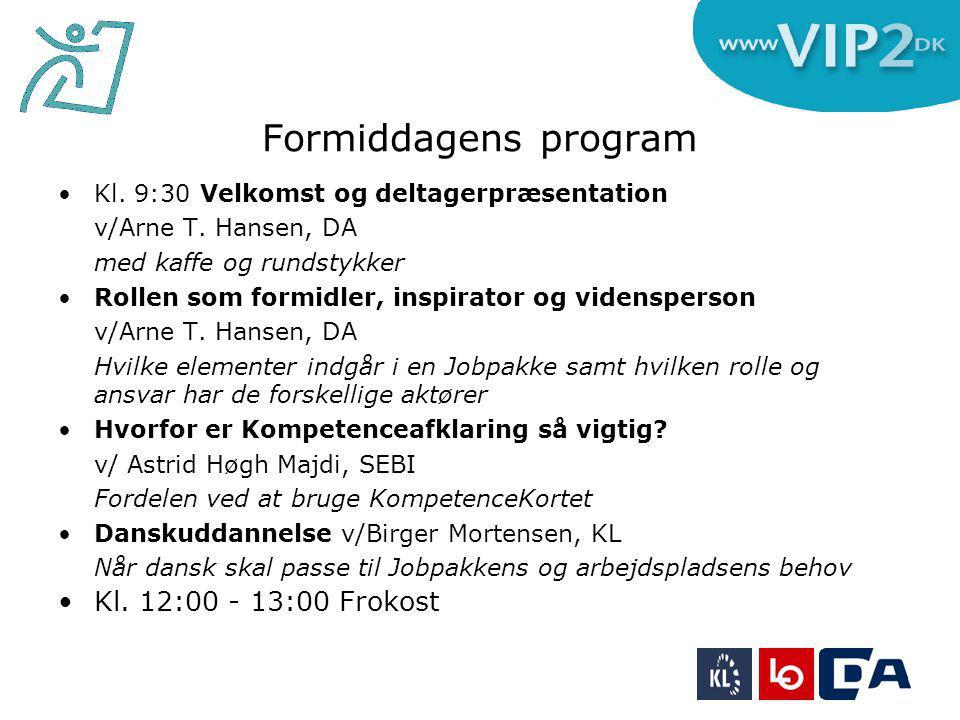 Formiddagens program Kl. 9:30 Velkomst og deltagerpræsentation v/Arne T.