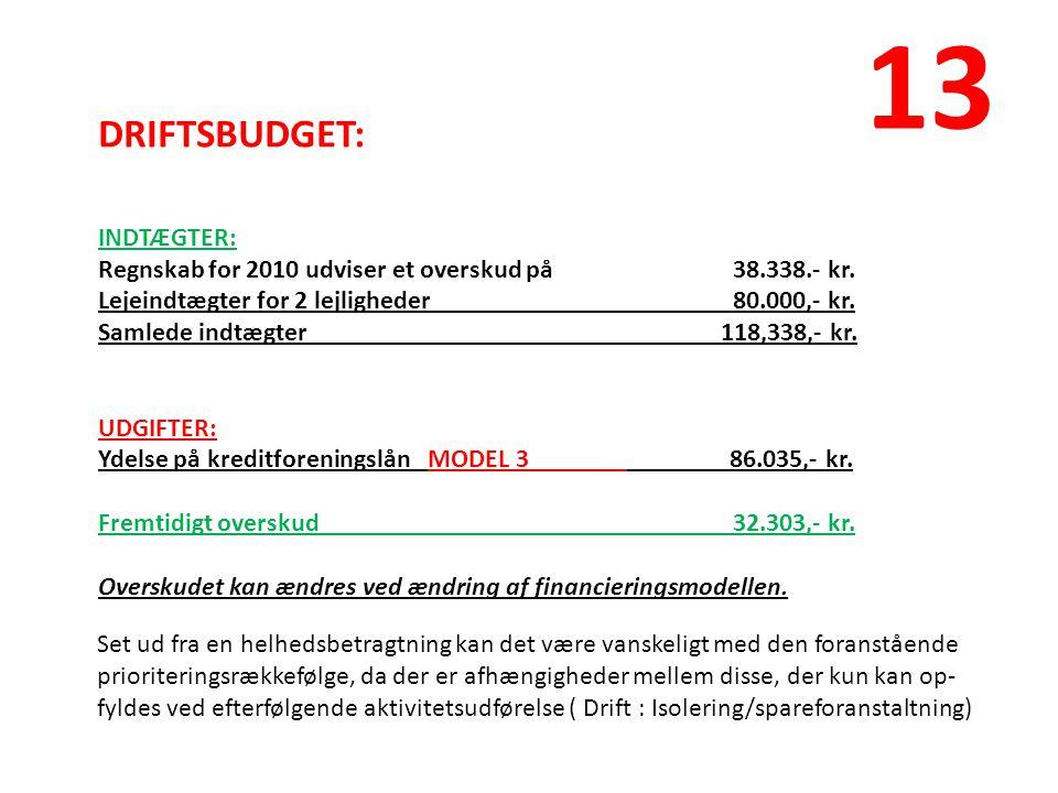 DRIFTSBUDGET: INDTÆGTER: Regnskab for 2010 udviser et overskud på38.338.- kr.