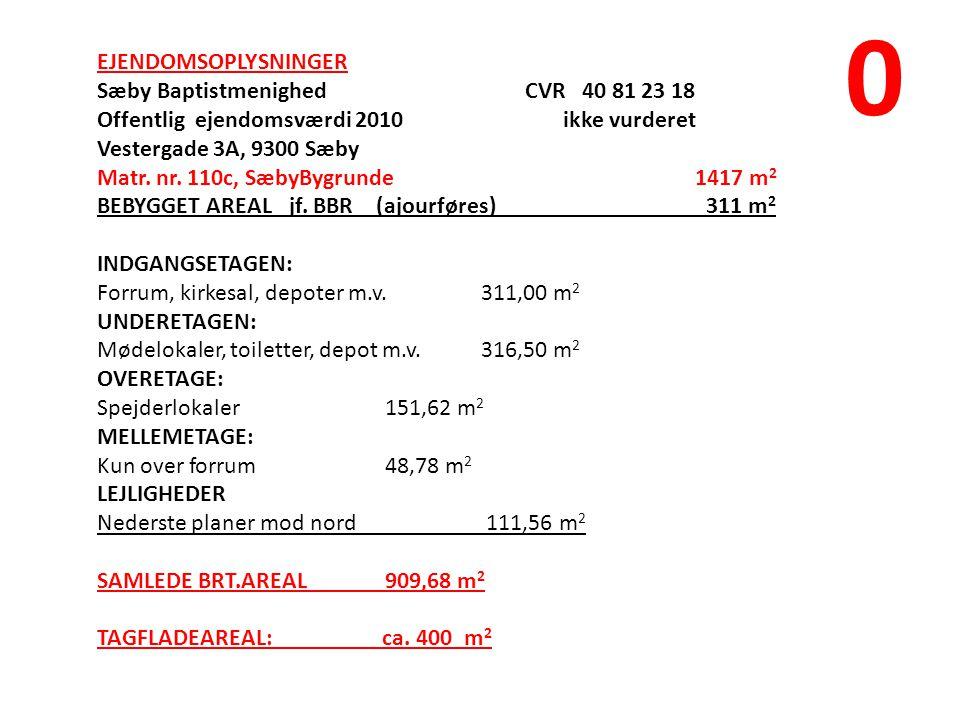 EJENDOMSOPLYSNINGER Sæby Baptistmenighed CVR 40 81 23 18 Offentlig ejendomsværdi 2010 ikke vurderet Vestergade 3A, 9300 Sæby Matr.