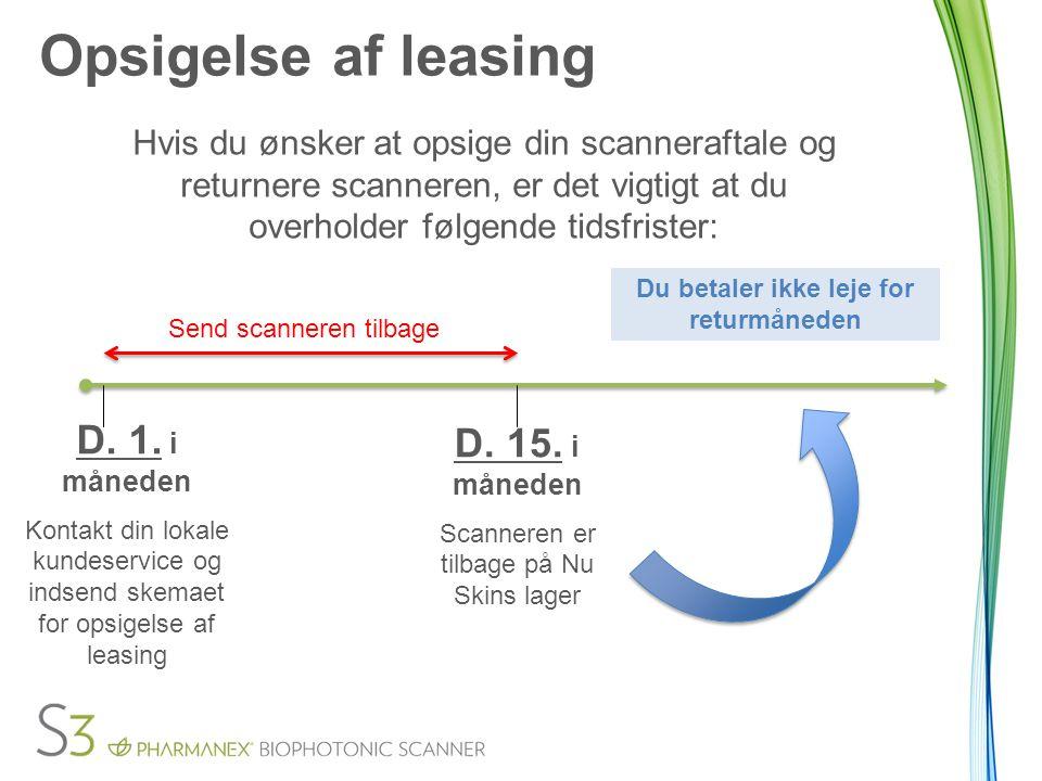 Opsigelse af leasing Hvis du ønsker at opsige din scanneraftale og returnere scanneren, er det vigtigt at du overholder følgende tidsfrister: D.