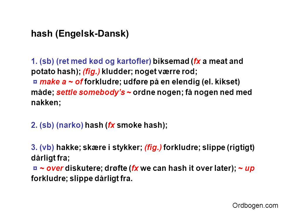 hash (Engelsk-Dansk) 1.