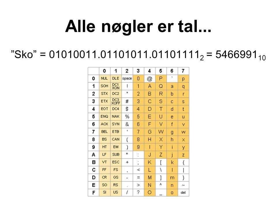Alle nøgler er tal... Sko = 01010011.01101011.01101111 2 = 5466991 10