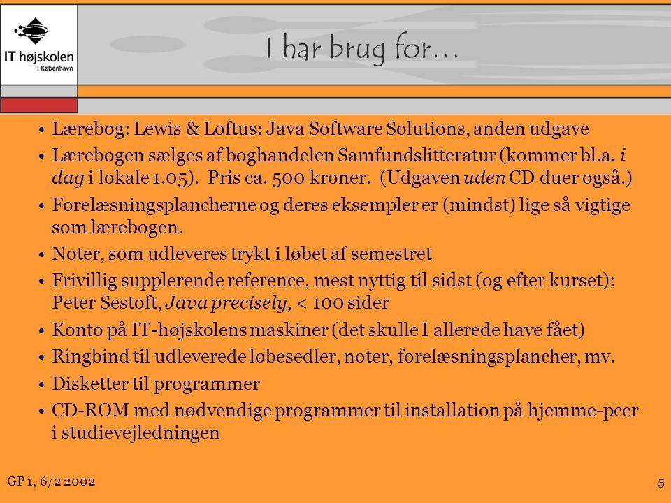 GP 1, 6/2 20025 I har brug for… Lærebog: Lewis & Loftus: Java Software Solutions, anden udgave Lærebogen sælges af boghandelen Samfundslitteratur (kommer bl.a.