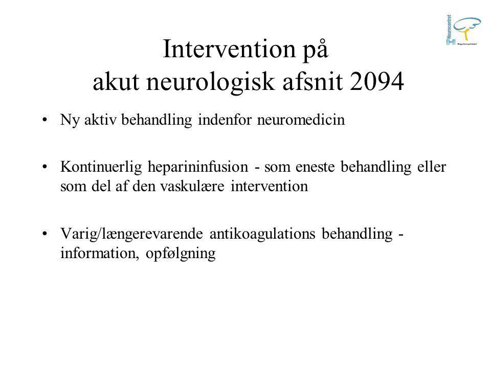 Monitorering på akut neurologisk afsnit 2094 Tæt observation af: -Bevidsthed -Vitale værdier -Progression af symptomer -Indstikssteder og slimhinder Kontinuerlig heparininfusion reguleres udfra APTT-værdi, målt min.