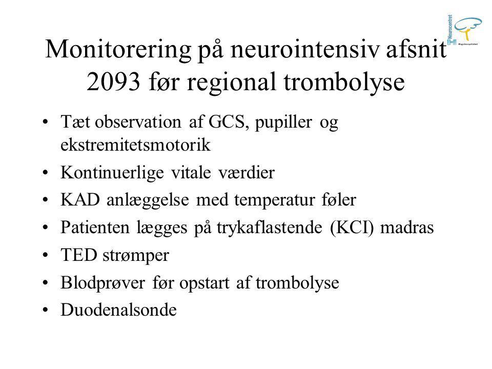 Monitorering på neurointensiv afsnit 2093 før regional trombolyse Tæt observation af GCS, pupiller og ekstremitetsmotorik Kontinuerlige vitale værdier KAD anlæggelse med temperatur føler Patienten lægges på trykaflastende (KCI) madras TED strømper Blodprøver før opstart af trombolyse Duodenalsonde