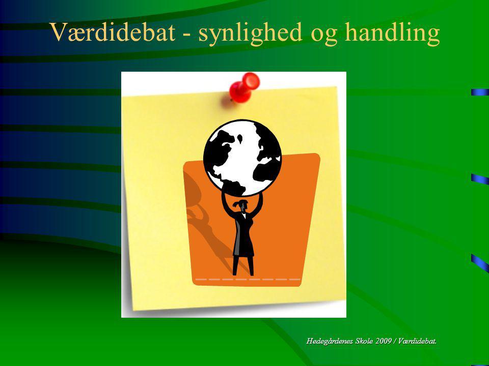 Hedegårdenes Skole 2009 / Værdidebat. Værdidebat - synlighed og handling