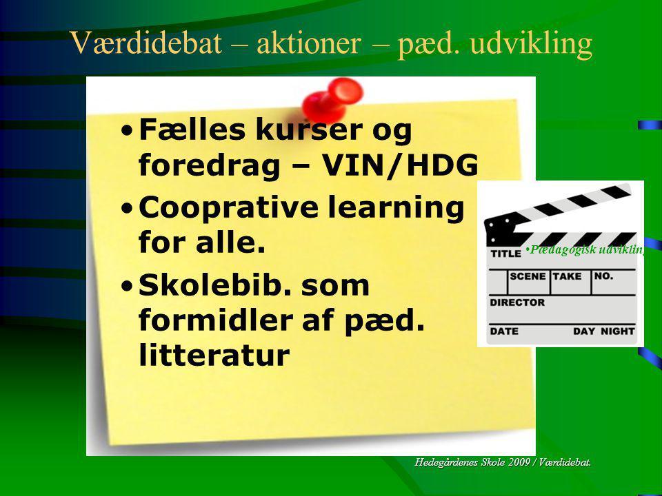Hedegårdenes Skole 2009 / Værdidebat. Værdidebat – aktioner – pæd.