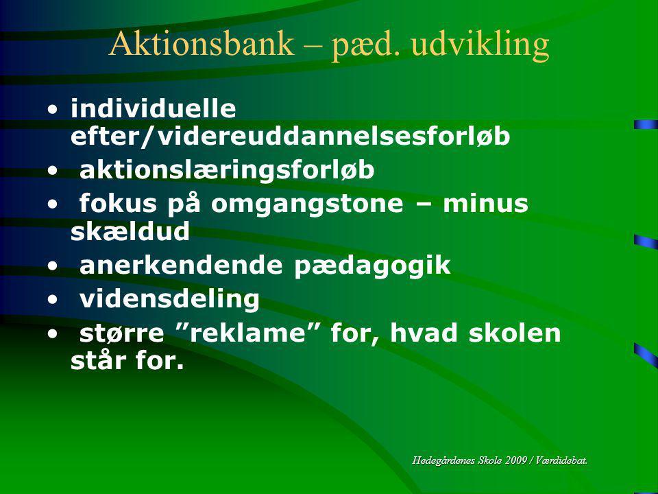 Hedegårdenes Skole 2009 / Værdidebat. Aktionsbank – pæd.
