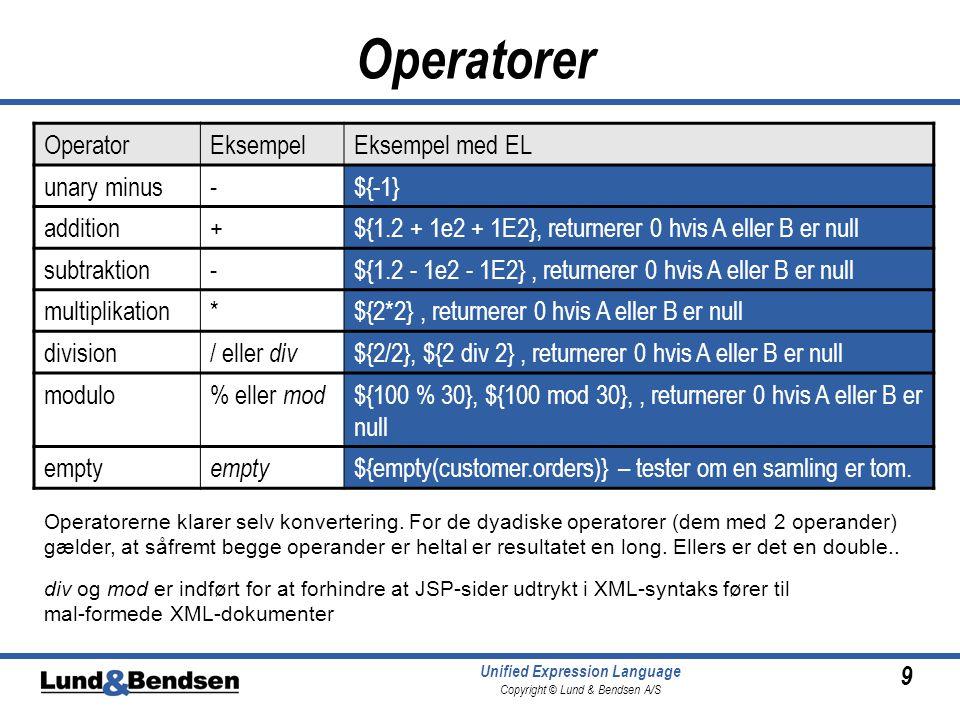 9 Unified Expression Language Copyright © Lund & Bendsen A/S Operatorer OperatorEksempelEksempel med EL unary minus-${-1} addition+${1.2 + 1e2 + 1E2}, returnerer 0 hvis A eller B er null subtraktion-${1.2 - 1e2 - 1E2}, returnerer 0 hvis A eller B er null multiplikation*${2*2}, returnerer 0 hvis A eller B er null division/ eller div ${2/2}, ${2 div 2}, returnerer 0 hvis A eller B er null modulo% eller mod ${100 % 30}, ${100 mod 30},, returnerer 0 hvis A eller B er null empty ${empty(customer.orders)} – tester om en samling er tom.
