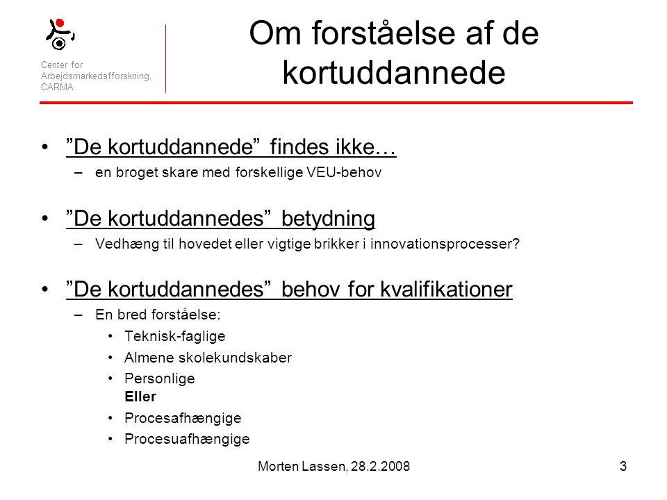 Center for Arbejdsmarkedsfforskning, CARMA Morten Lassen, 28.2.20083 Om forståelse af de kortuddannede De kortuddannede findes ikke… –en broget skare med forskellige VEU-behov De kortuddannedes betydning –Vedhæng til hovedet eller vigtige brikker i innovationsprocesser.