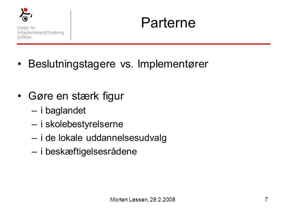 Center for Arbejdsmarkedsfforskning, CARMA Morten Lassen, 28.2.20087 Parterne Beslutningstagere vs.