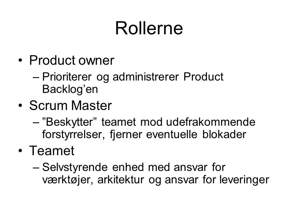 Rollerne Product owner –Prioriterer og administrerer Product Backlog'en Scrum Master – Beskytter teamet mod udefrakommende forstyrrelser, fjerner eventuelle blokader Teamet –Selvstyrende enhed med ansvar for værktøjer, arkitektur og ansvar for leveringer