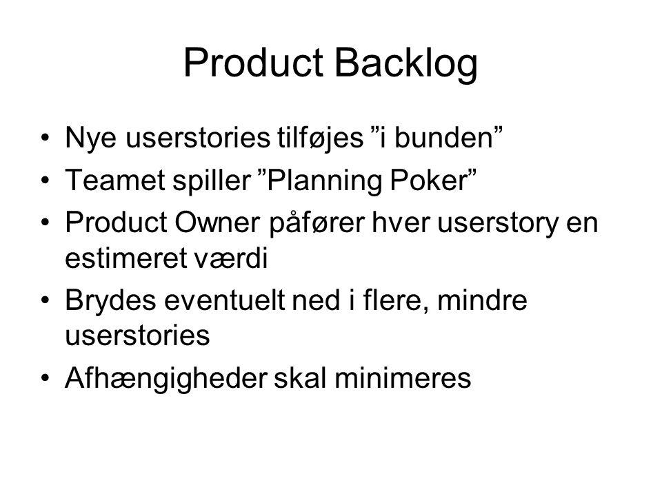 Product Backlog Nye userstories tilføjes i bunden Teamet spiller Planning Poker Product Owner påfører hver userstory en estimeret værdi Brydes eventuelt ned i flere, mindre userstories Afhængigheder skal minimeres