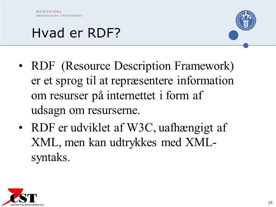 16 Hvad er RDF.