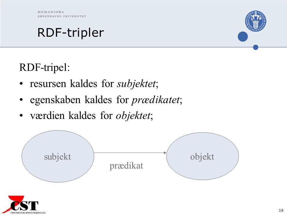 19 RDF-tripler RDF-tripel: resursen kaldes for subjektet; egenskaben kaldes for prædikatet; værdien kaldes for objektet; subjekt objekt prædikat