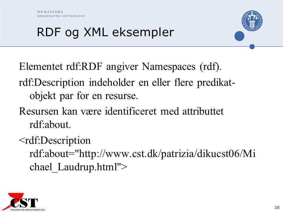 28 RDF og XML eksempler Elementet rdf:RDF angiver Namespaces (rdf).