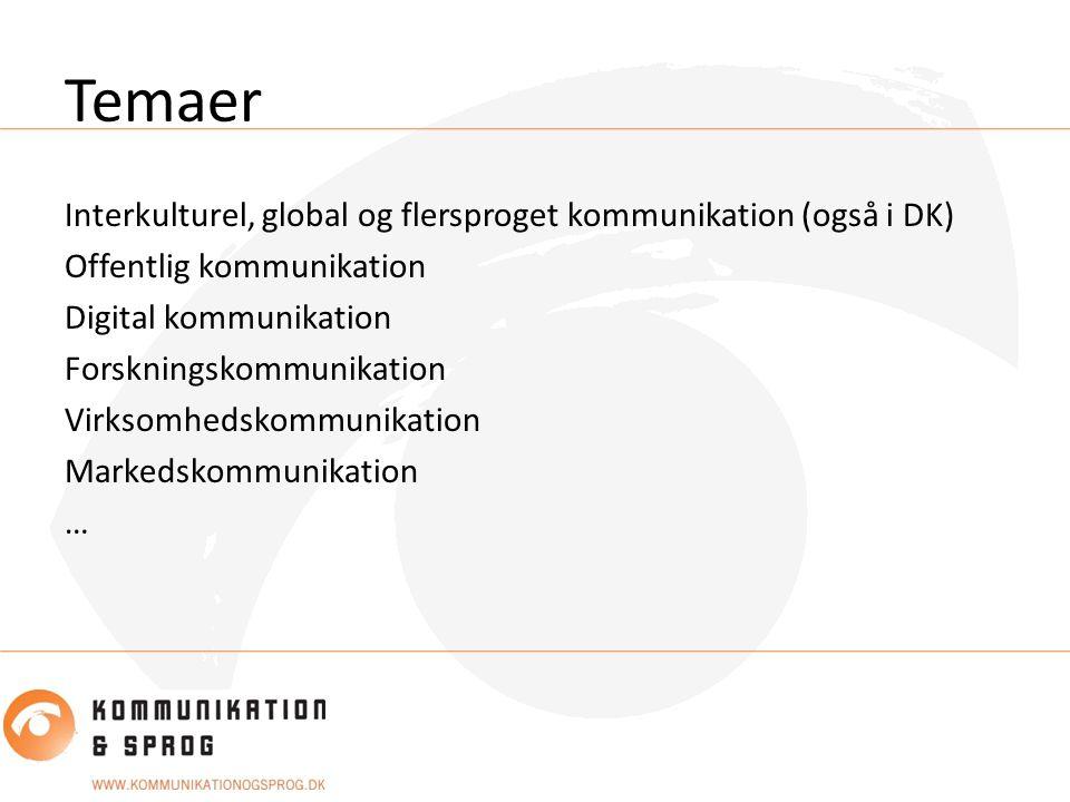 Temaer Interkulturel, global og flersproget kommunikation (også i DK) Offentlig kommunikation Digital kommunikation Forskningskommunikation Virksomhedskommunikation Markedskommunikation …