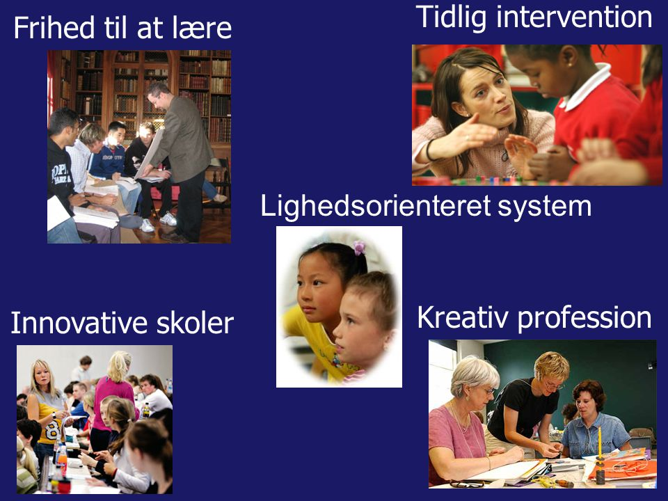 Tidlig intervention Innovative skoler Frihed til at lære Kreativ profession Lighedsorienteret system