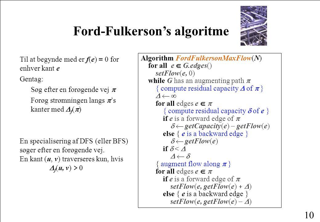 10 Ford-Fulkerson's algoritme Til at begynde med er f(e)  0 for enhver kant e Gentag: Søg efter en forøgende vej  Forøg strømningen langs  's kanter med  f (  ) En specialisering af DFS (eller BFS) søger efter en forøgende vej.
