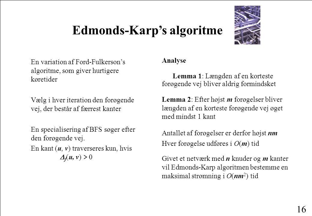 16 Edmonds-Karp's algoritme En variation af Ford-Fulkerson's algoritme, som giver hurtigere køretider Vælg i hver iteration den forøgende vej, der består af færrest kanter En specialisering af BFS søger efter den forøgende vej.