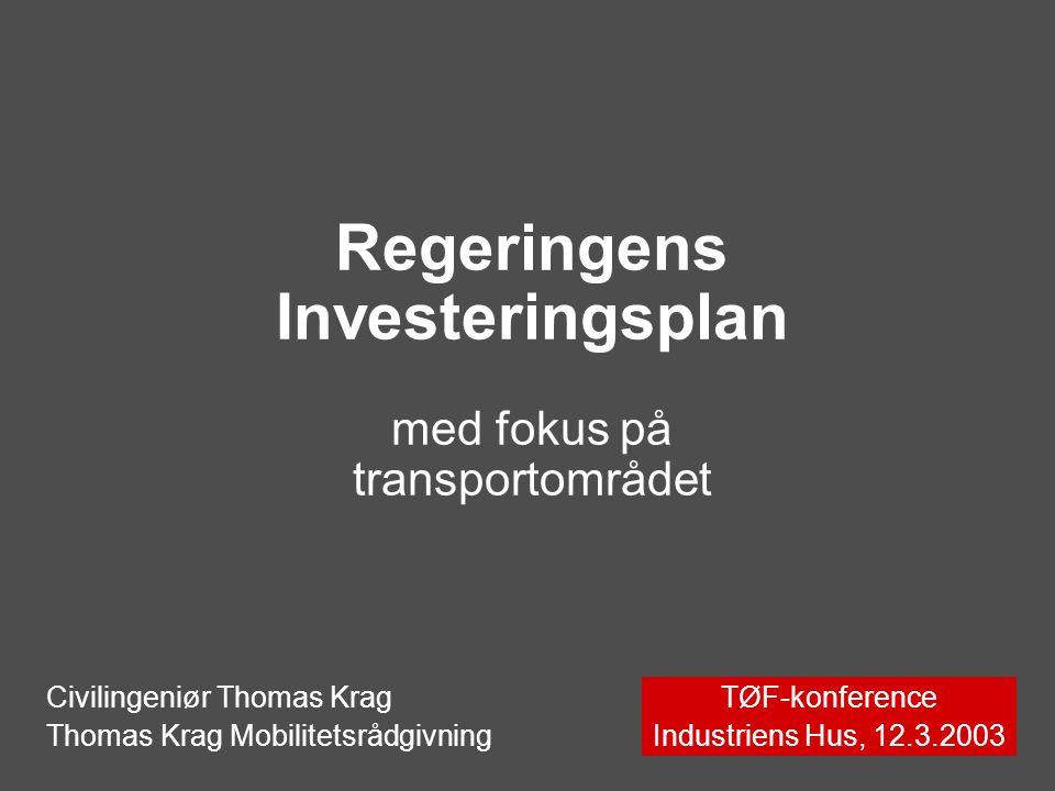 Regeringens Investeringsplan med fokus på transportområdet TØF-konference Industriens Hus, 12.3.2003 Civilingeniør Thomas Krag Thomas Krag Mobilitetsrådgivning