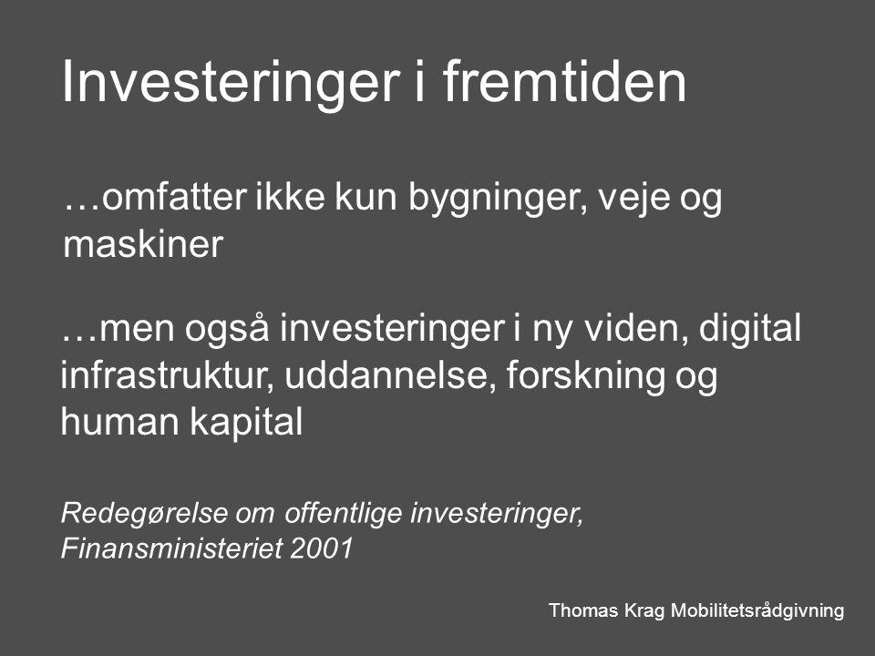 Investeringer i fremtiden Thomas Krag Mobilitetsrådgivning …omfatter ikke kun bygninger, veje og maskiner …men også investeringer i ny viden, digital infrastruktur, uddannelse, forskning og human kapital Redegørelse om offentlige investeringer, Finansministeriet 2001