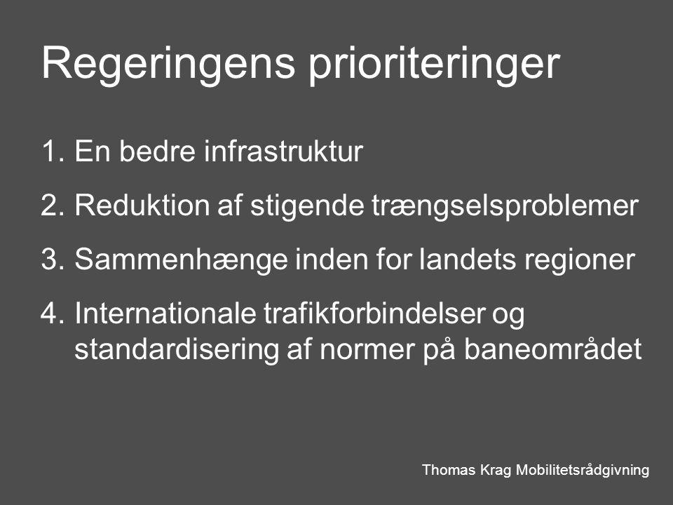Regeringens prioriteringer Thomas Krag Mobilitetsrådgivning 1.En bedre infrastruktur 2.Reduktion af stigende trængselsproblemer 3.Sammenhænge inden for landets regioner 4.Internationale trafikforbindelser og standardisering af normer på baneområdet
