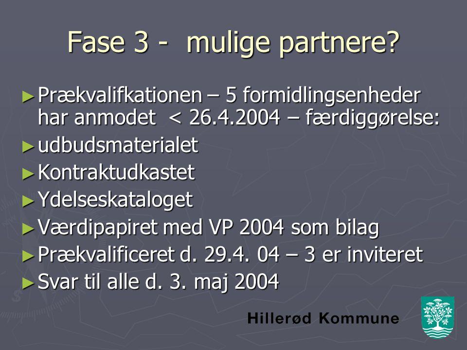 Fase 3 - mulige partnere.