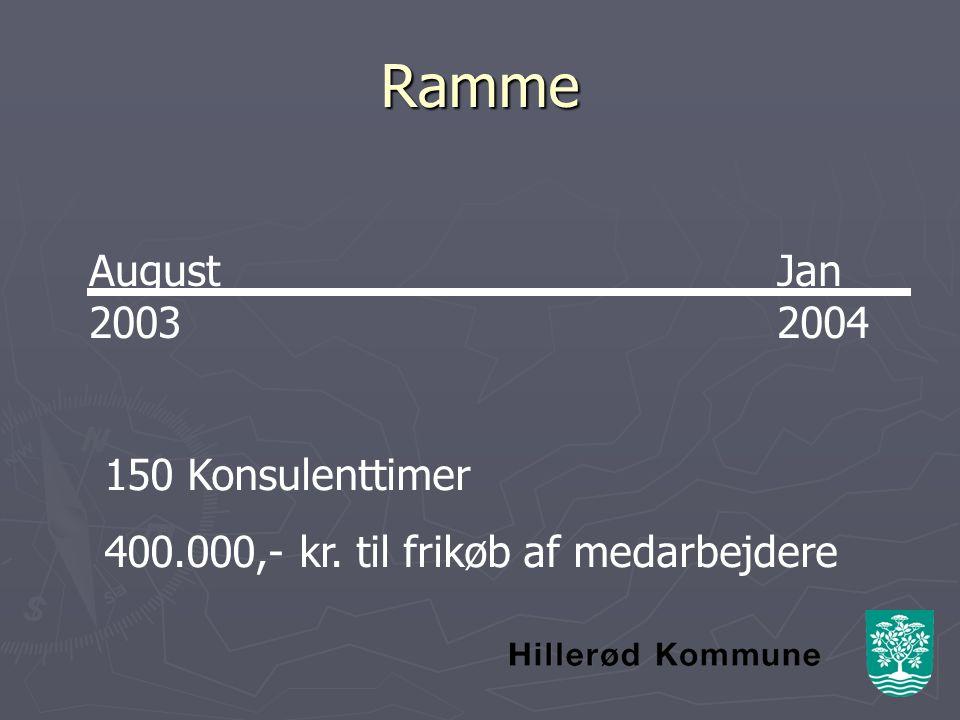 Ramme August 2003 Jan 2004 150 Konsulenttimer 400.000,- kr. til frikøb af medarbejdere