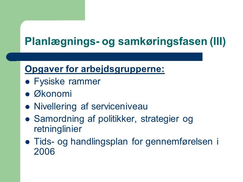 Planlægnings- og samkøringsfasen (III) Opgaver for arbejdsgrupperne: Fysiske rammer Økonomi Nivellering af serviceniveau Samordning af politikker, strategier og retninglinier Tids- og handlingsplan for gennemførelsen i 2006