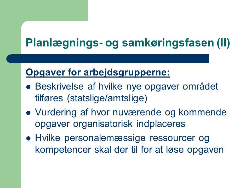 Planlægnings- og samkøringsfasen (II) Opgaver for arbejdsgrupperne: Beskrivelse af hvilke nye opgaver området tilføres (statslige/amtslige) Vurdering af hvor nuværende og kommende opgaver organisatorisk indplaceres Hvilke personalemæssige ressourcer og kompetencer skal der til for at løse opgaven