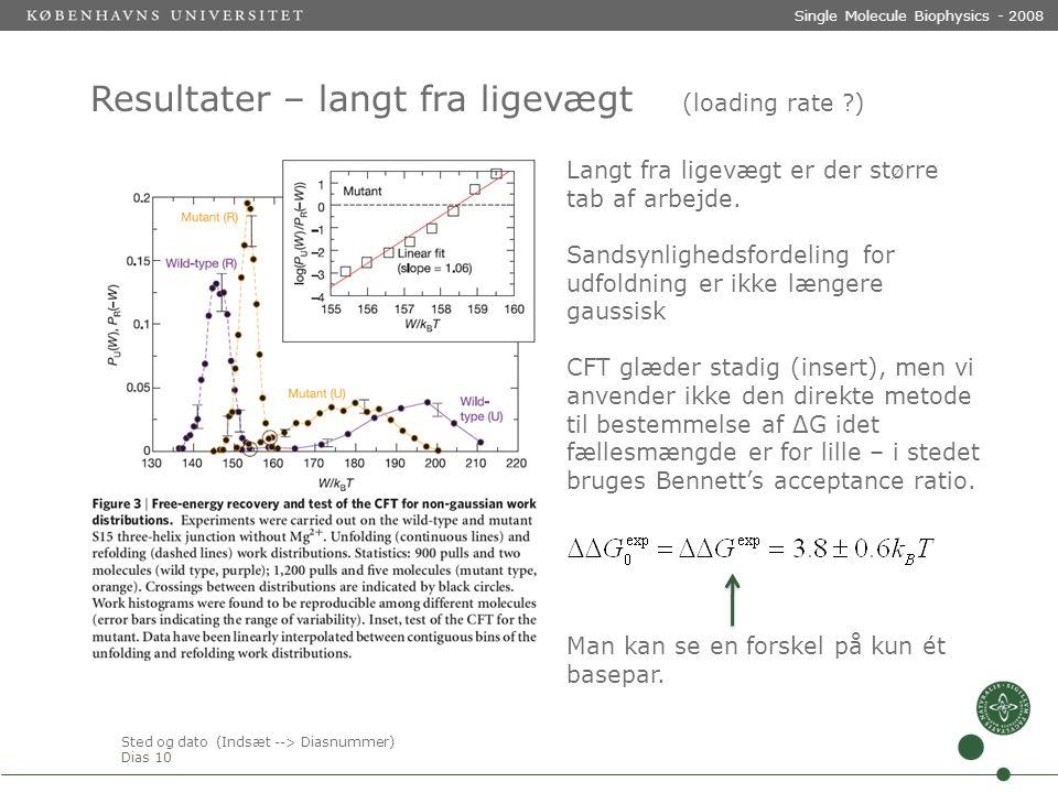 Sted og dato (Indsæt --> Diasnummer) Dias 10 Single Molecule Biophysics - 2008 Resultater – langt fra ligevægt (loading rate ) Langt fra ligevægt er der større tab af arbejde.