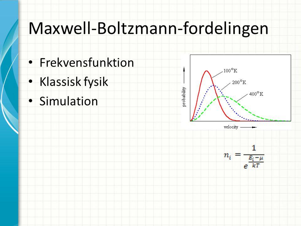 Maxwell-Boltzmann-fordelingen Frekvensfunktion Klassisk fysik Simulation