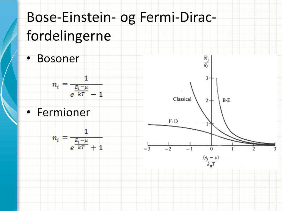 Bose-Einstein- og Fermi-Dirac- fordelingerne Bosoner Fermioner