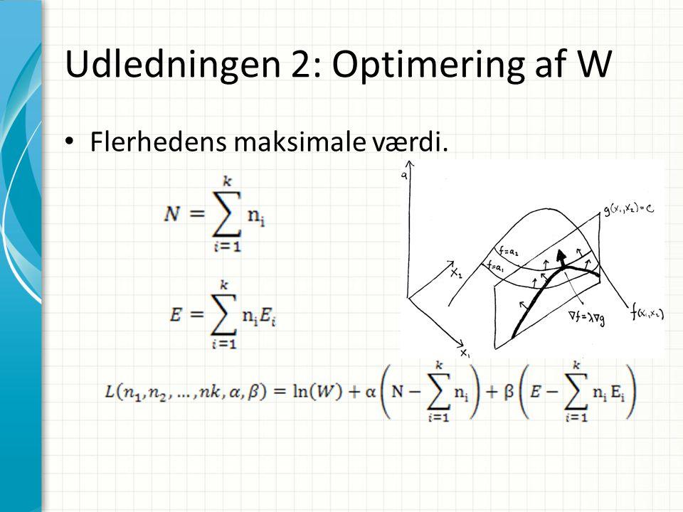 Udledningen 2: Optimering af W Flerhedens maksimale værdi.