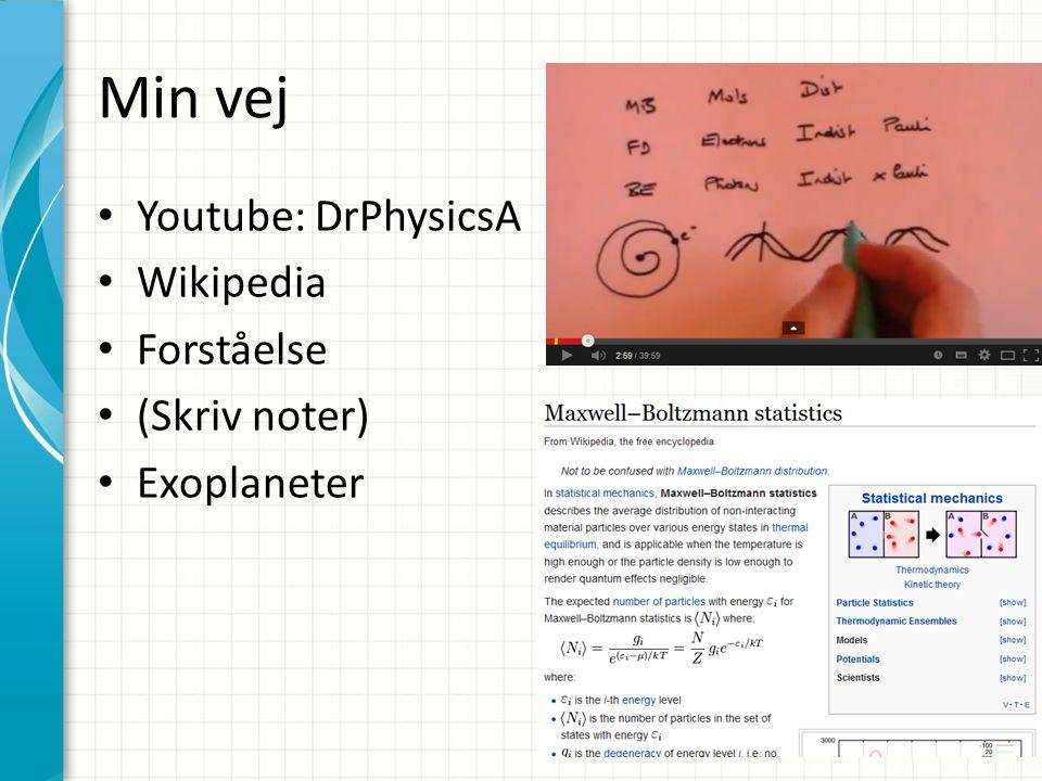 Min vej Youtube: DrPhysicsA Wikipedia Forståelse (Skriv noter) Exoplaneter