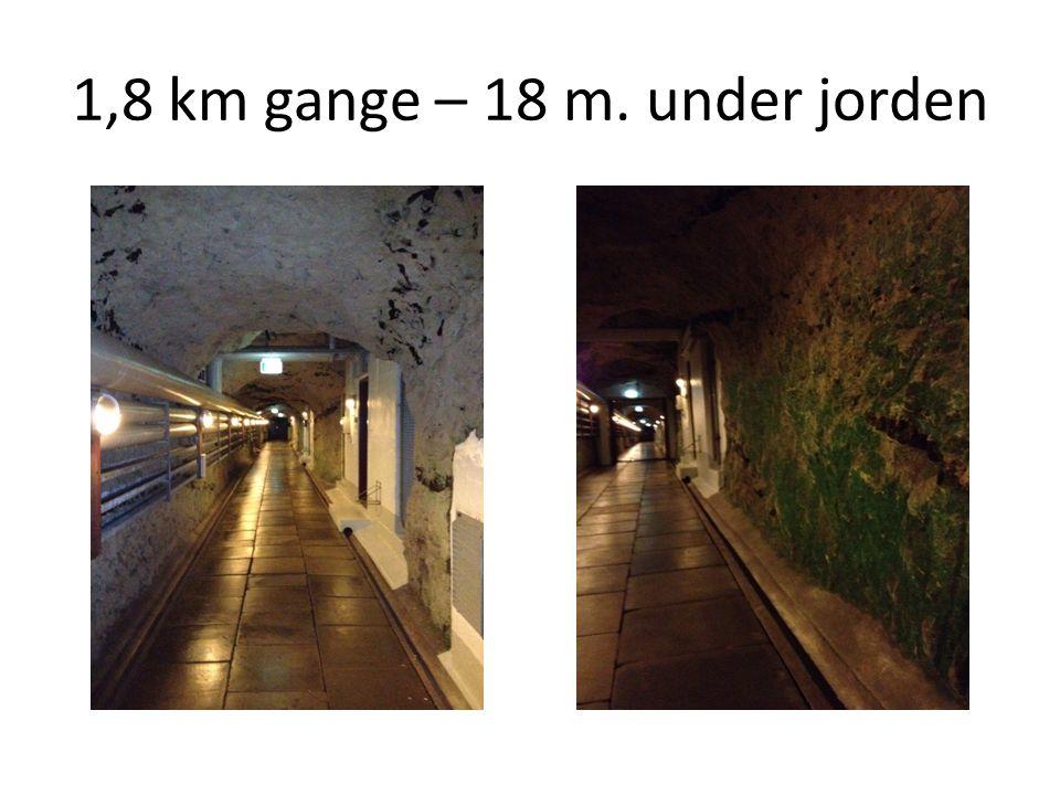 1,8 km gange – 18 m. under jorden
