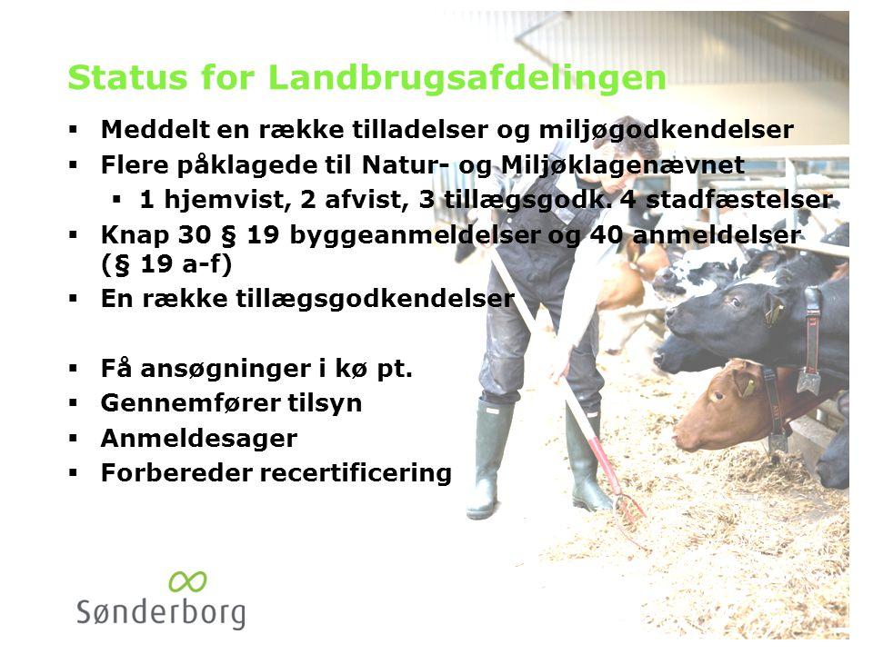 Status for Landbrugsafdelingen  Meddelt en række tilladelser og miljøgodkendelser  Flere påklagede til Natur- og Miljøklagenævnet  1 hjemvist, 2 afvist, 3 tillægsgodk.