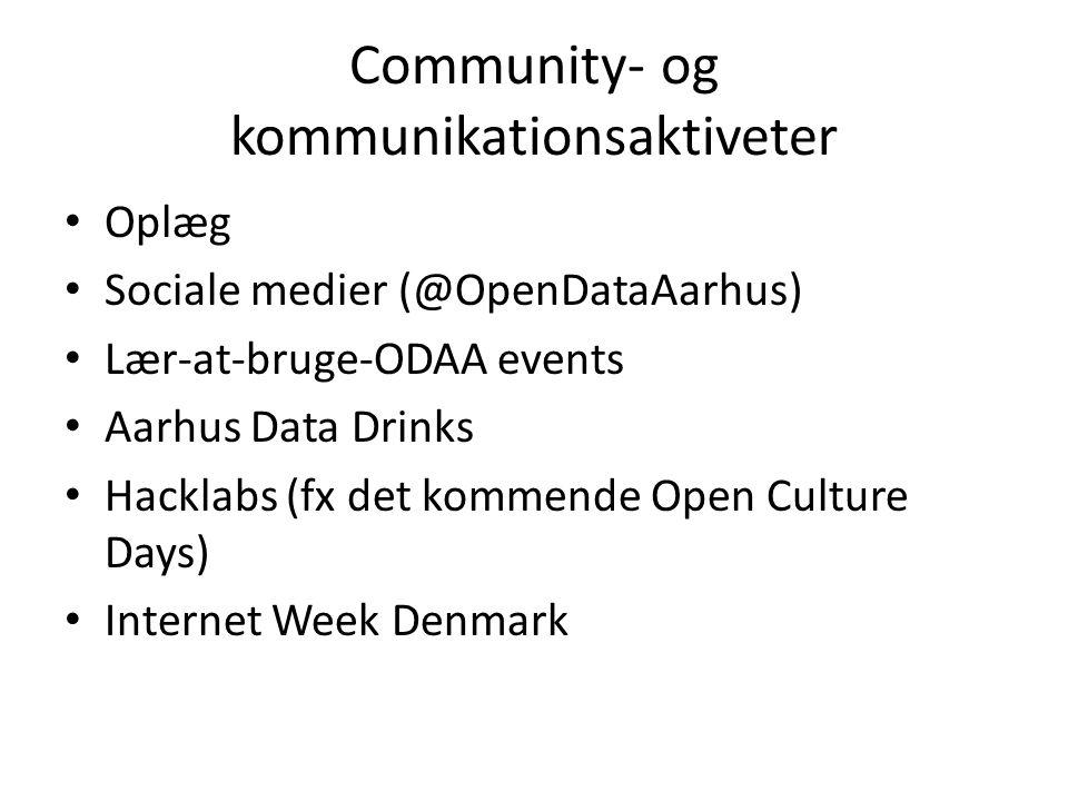 Community- og kommunikationsaktiveter Oplæg Sociale medier (@OpenDataAarhus) Lær-at-bruge-ODAA events Aarhus Data Drinks Hacklabs (fx det kommende Open Culture Days) Internet Week Denmark