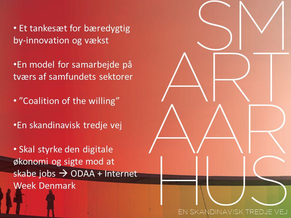 Et tankesæt for bæredygtig by-innovation og vækst En model for samarbejde på tværs af samfundets sektorer Coalition of the willing En skandinavisk tredje vej Skal styrke den digitale økonomi og sigte mod at skabe jobs  ODAA + Internet Week Denmark