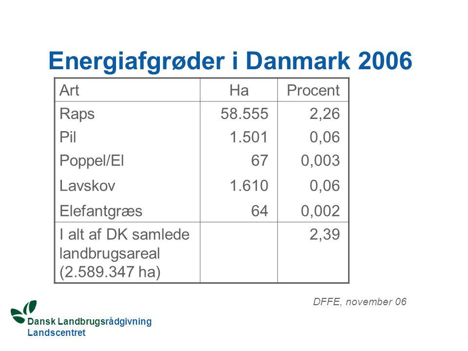 Dansk Landbrugsrådgivning Landscentret Energiafgrøder i Danmark 2006 ArtHaProcent Raps58.5552,26 Pil1.5010,06 Poppel/El670,003 Lavskov1.6100,06 Elefantgræs640,002 I alt af DK samlede landbrugsareal (2.589.347 ha) 2,39 DFFE, november 06