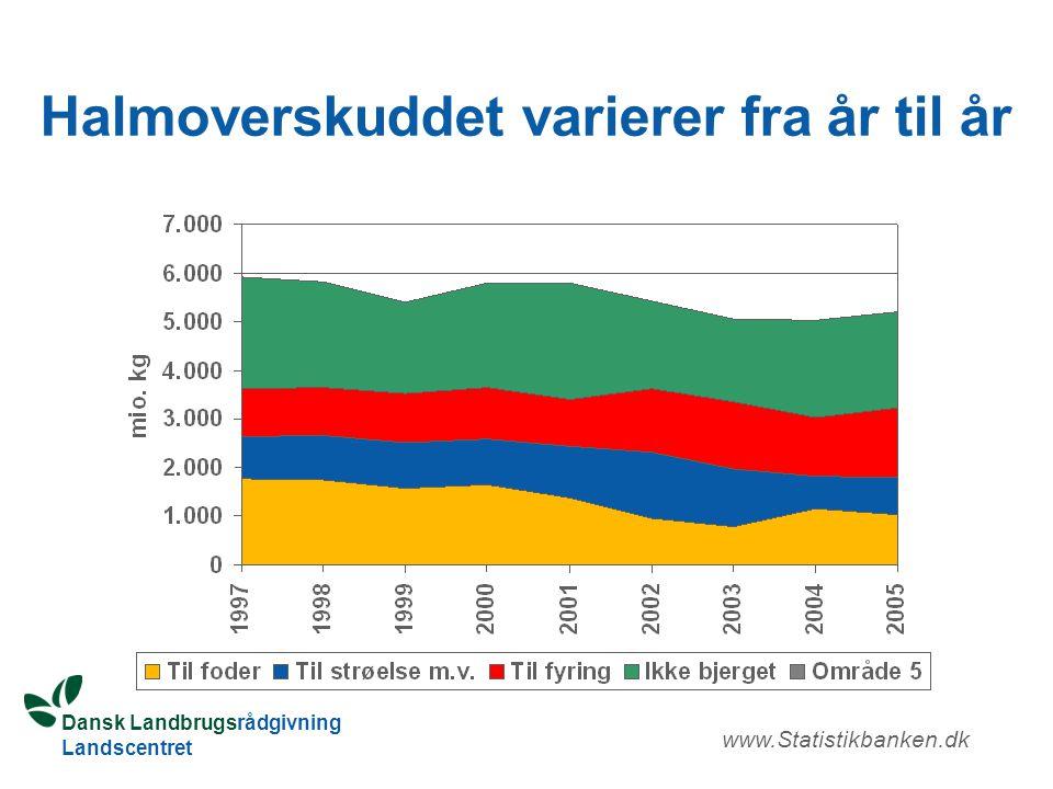 Dansk Landbrugsrådgivning Landscentret Halmoverskuddet varierer fra år til år www.Statistikbanken.dk