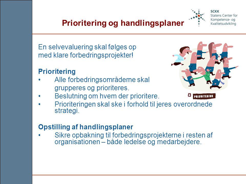 Prioritering og handlingsplaner En selvevaluering skal følges op med klare forbedringsprojekter.