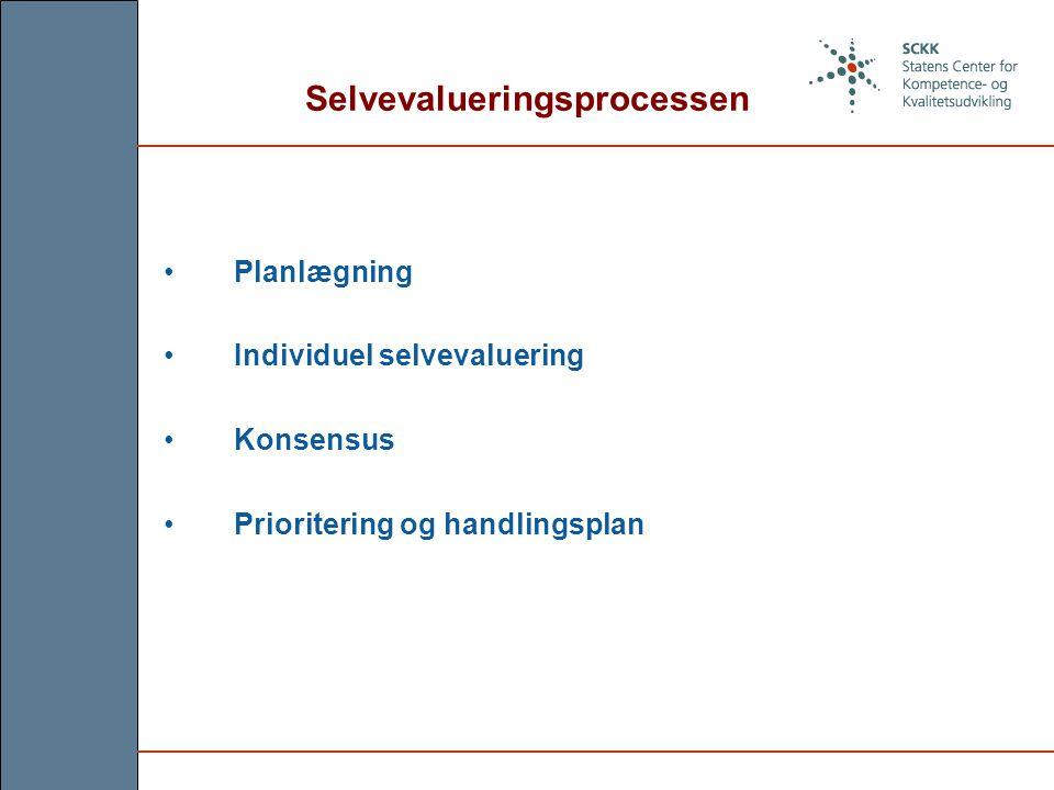 Selvevalueringsprocessen Planlægning Individuel selvevaluering Konsensus Prioritering og handlingsplan