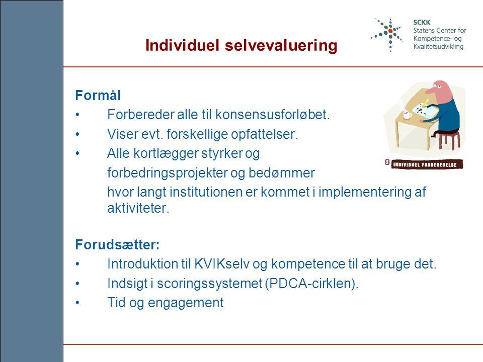 Individuel selvevaluering Formål Forbereder alle til konsensusforløbet.
