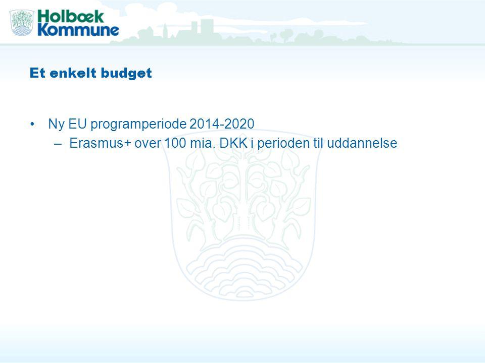Et enkelt budget Ny EU programperiode 2014-2020 –Erasmus+ over 100 mia.