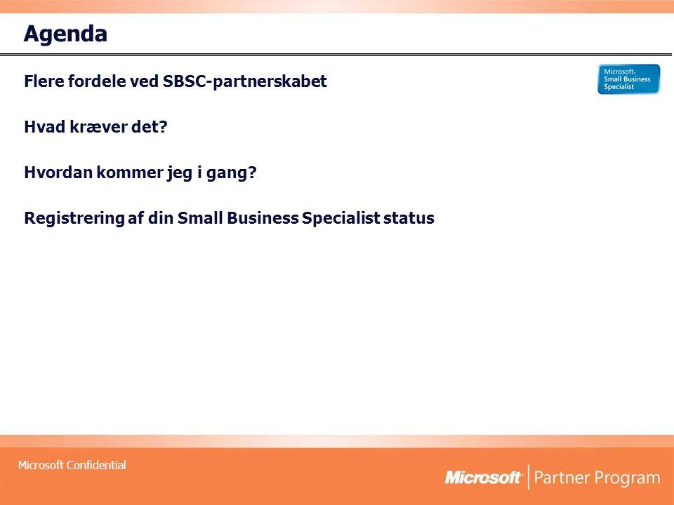 Microsoft Confidential Agenda Flere fordele ved SBSC-partnerskabet Hvad kræver det.