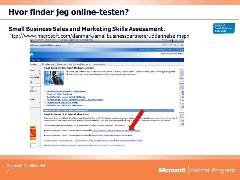 Microsoft Confidential Hvor finder jeg online-testen.