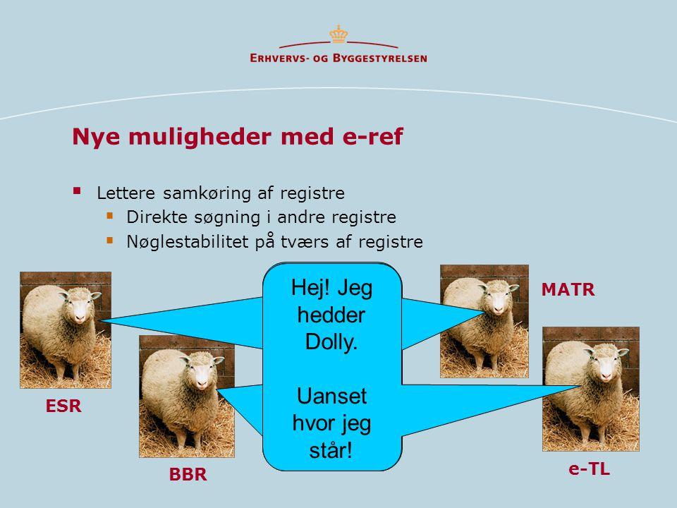 Nye muligheder med e-ref  Lettere samkøring af registre  Direkte søgning i andre registre  Nøglestabilitet på tværs af registre ESR BBR e-TL MATR Hej.